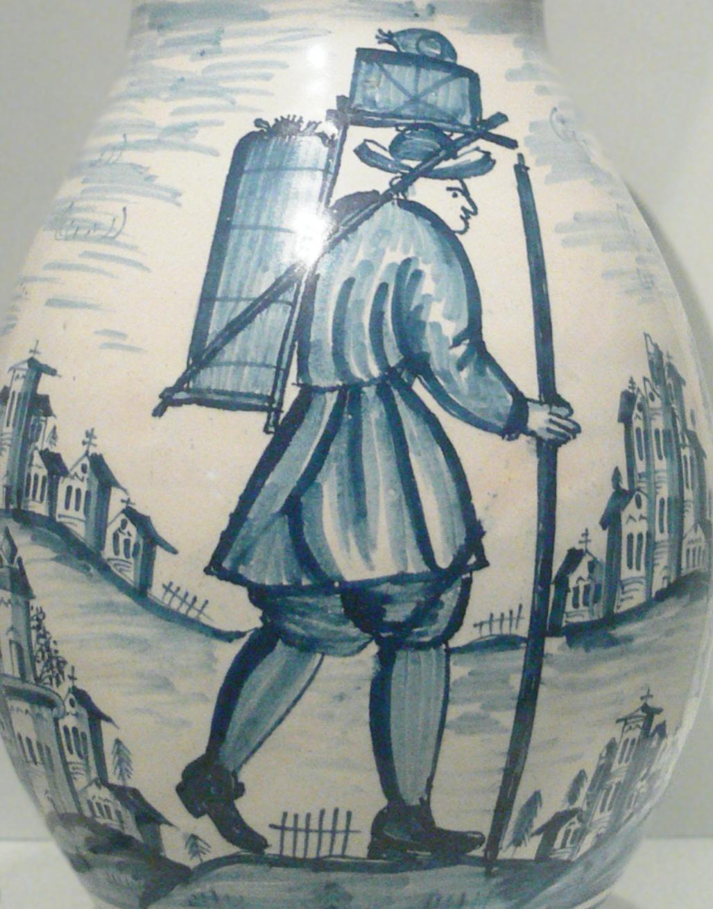 Vazo üzerine işlenmiş dönemine uygun yansılıtılmış hamal görseli.